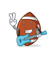 american football character cartoon with guitar vector image vector image