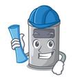 architect cartoon steel trash can in the door vector image