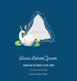 baby announcement with swan invitation card vector image vector image