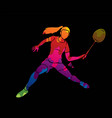 badminton female player action with racket vector image vector image
