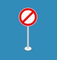 ban road sign stop traffic signal prohibited red vector image vector image