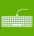 black computer keyboard icon green vector image