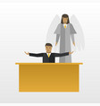 businessman with angel flat vector image