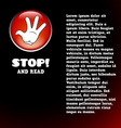 Card with cartoon stop hand on button vector image vector image