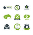 cartoon green and black tea badges or labels set vector image vector image