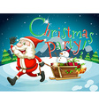 Christmas card with Santa and presents vector image vector image