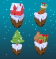 Christmas Gift Icon Object Set vector image vector image