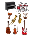 Classic musical instruments on white background