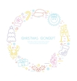Colorful Christmas holidays circle frame with