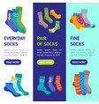 colorful fun socks banner vecrtical set vector image vector image