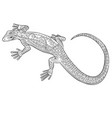 coloring page with lizard in zentangle style vector image vector image