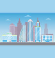 cute cityscape with set of pretty modern buildings vector image vector image