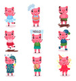 cute funny pig characters set piggy boys and vector image vector image