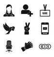 dialog icons set simple style vector image