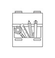 drawer with writing tools icon vector image