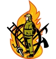 Fireman Firefighter axe ladder spear hook hose vector image vector image