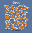 foxes sticker set for your design vector image vector image