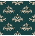 Green and beige seamless damask pattern vector image vector image