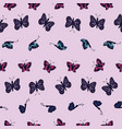 hand drawn multi colored butterflies on a light vector image vector image