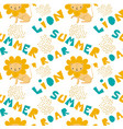 hand drawn pattern of a cute lion with lettering vector image vector image