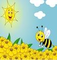 Happy bee cartoon on the flower field vector image