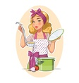 Housewife girl cooking food vector image vector image