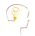 idea concept with lightbulb and profile outline vector image vector image