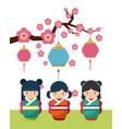 japanese girl design vector image