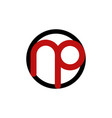 letter np circle outline business logo design vector image vector image