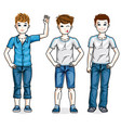 little boys cute children standing wearing vector image