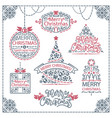 merry christmas design labels set vector image vector image