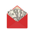 one hundred dollar banknotes in open red envelope vector image