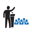 public speaker standing behind rostrum speaking vector image