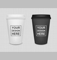 realistic blank paper coffee cup icon set isolated vector image vector image