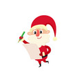 santa claus with wishlist cartoon vector image vector image