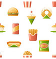 Seamless pattern fast food icons symbols isolated