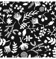Seamless vintage black and white floral pattern vector image vector image