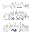 Set Line Banners Paris London and New York vector image vector image
