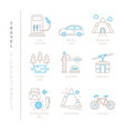 set of travel icons and concepts in mono thin vector image