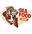smiling fish seafood restaurant mascot vector image vector image