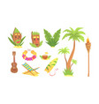 traditional hawaiian symbols collection palm vector image vector image