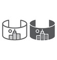 vr city line and glyph icon virtual and town vector image vector image
