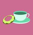 sweet dessert in flat design cup of tea and donat vector image