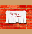 Tear off paper notice on the wall vector image