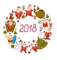 2018 greeting card of santa cartoon vector image vector image