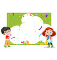 a cloud party card template with kids vector image