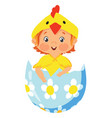 baby in chick costume in a decorative easter egg vector image
