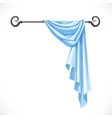 Blue drapery hanging on forged cornice isolated on vector image vector image