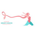 breast cancer care pink ribbon woman web banner vector image