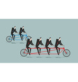 Business team on tandem Long bike Many managers vector image vector image